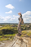 Hiker in badlands of Alberta, Canada Royalty Free Stock Photos