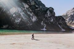 Hiker on beach