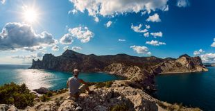 Hiker on beauty landscape Crimea background Royalty Free Stock Photography