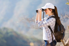 Hiker binoculars mountain Stock Photography