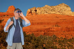 Hiker with Binoculars in Sedona Stock Photo