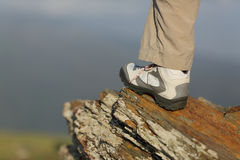 Hiker boot in the mountain Royalty Free Stock Images
