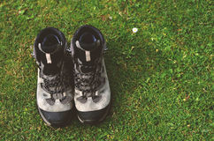 Hiker boots at the grass. In mountains Stock Image