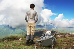 Hiker boy Stock Images