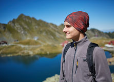 Hiker boy by the lake Stock Photos