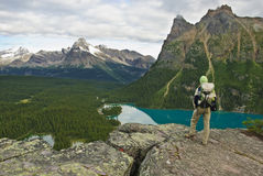 Hiker in the canadian rockies Stock Photo