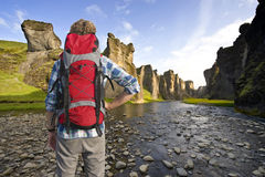 Hiker in canyon Stock Photo