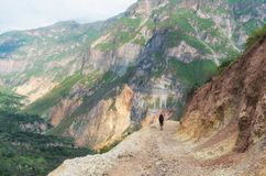 Hiker in Canyon Colca Peru. Hiker in Canyon Colca, Peru Stock Images