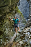 Hiker in a canyon Royalty Free Stock Photo