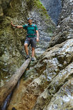 Hiker in a canyon Royalty Free Stock Photography