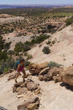 Hiker in Canyonlands Royalty Free Stock Photography