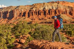 Hiker in Capitol reef National park in Utah, USA royalty free stock photos