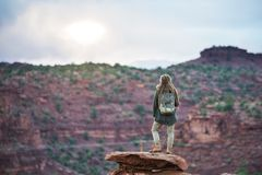 Hiker in Capitol reef National park in Utah, USA royalty free stock photo