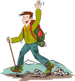Hiker. Cartoon vector illustration of hiking man Royalty Free Stock Images
