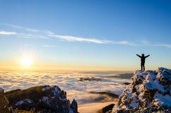 Hiker celebrating success Royalty Free Stock Image