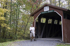 Hiker at Clays Bridge Stock Photography