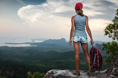 Hiker on the cliff Stock Image
