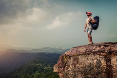 Hiker on the cliff Royalty Free Stock Image