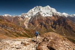 Hiker is climbig to Manaslu base camp in highlands of Himalayas Stock Image