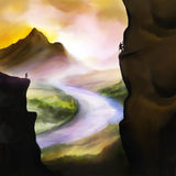 HIker climbing cliff sunrise. Two hikers on different cliffs during a sunrise with a valley and river far below Royalty Free Stock Image