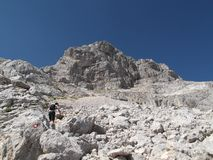 The Hiker climbing the highest peak of The Durmitor Mountain,The Bobotov Kuk Royalty Free Stock Photography