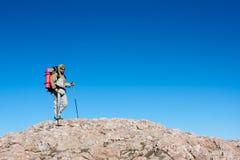 Hiker is climbing mountain. In the Crimea mountains Stock Photos