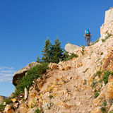Hiker Climbing up the Trail Royalty Free Stock Photography