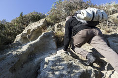 Hiker climbs Royalty Free Stock Images