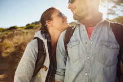 Hiker couple enjoying in nature Stock Images