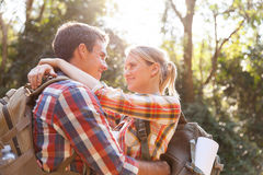 Hiker couple hugging Royalty Free Stock Photo