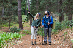 Hiker couple pointing at distance Royalty Free Stock Image