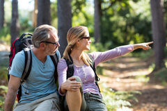 Hiker couple pointing in the distance. On a sunny day at forest Royalty Free Stock Image
