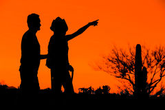Hiker Couple Silhouettes Stock Photo