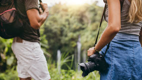 Hiker couple standing in nature Stock Image