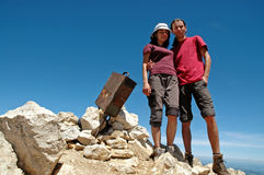 Hiker couple on the summit Stock Photos