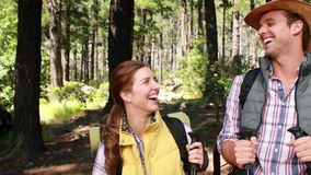 Hiker couple with walking stick stock video