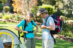 Hiker couple wearing strap Royalty Free Stock Photo