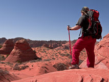 Hiker at Coyote Buttes Arizona Stock Photography