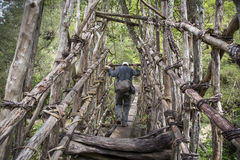 Hiker crossing a bridge. Baliem Valley, West Papua, Indonesia, February 14th, 2016: hiker crossing a traditional bridge in remote West Papua stock images