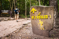 Hiker Crossing sign along road in the Forest Stock Photos