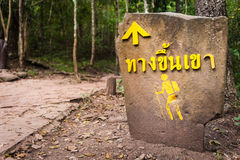 Hiker Crossing sign along road in the Forest Royalty Free Stock Image