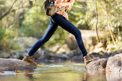 Hiker crossing stream Stock Images