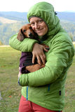 Hiker with a dachshund Royalty Free Stock Photos