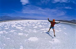 Hiker in Death Valley. Royalty Free Stock Photography