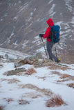 A hiker descending on Ben Starav at Glen Etive in the Scottish highlands Stock Image