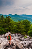 A hiker descends the rocky slopes of Duncan Knob, near Luray in Stock Images