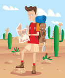 Hiker in a desert Stock Photo