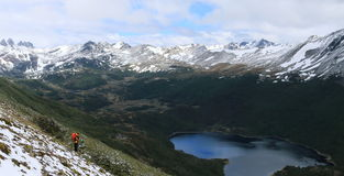 Hiker, Dientes de Navarino hiking circuit, Chile Stock Photography
