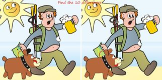 Hiker and dog-10 differences. Find ten differences in the figures - a tourist and a dog Stock Photography