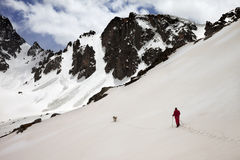 Hiker with dog in snow mountain at spring morning Royalty Free Stock Image